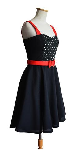 vestido pin up retro negro lunares blancos falda plato