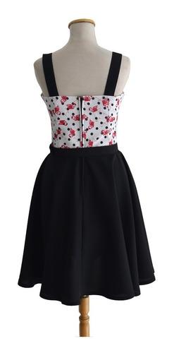 vestido pin up retro vintage flamencos lunares negro diseño