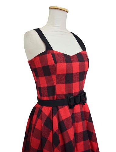 vestido  pin up vintage años ´50  retro leñador rojo y negro
