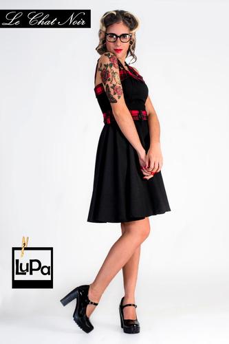 vestido pin up vintage retro falda plato negro escocés