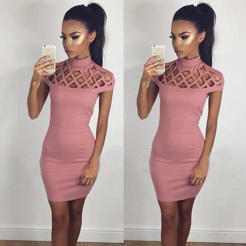vestido pink corto fashion huecos sexy bodycon disponible