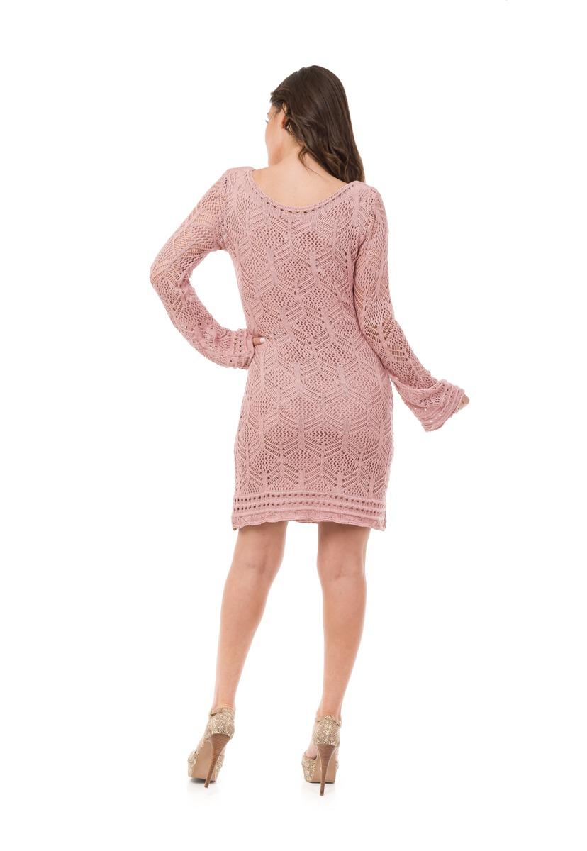 efadee6b6 Vestido Pink Tricot Curto Manga Longa Renda Decote Canoa Ro - R$ 178 ...
