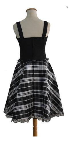 vestido plato gótico kwaii lolita retro pin up escocés