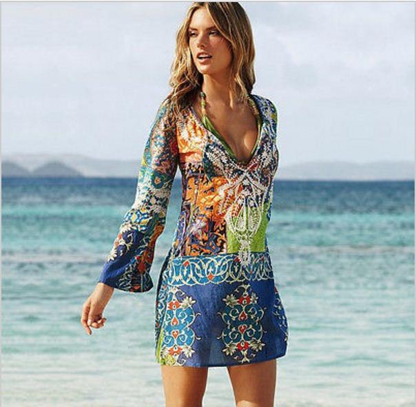 6fa0d4b97d6f Vestido Playa Para Traje De Baño Estampado
