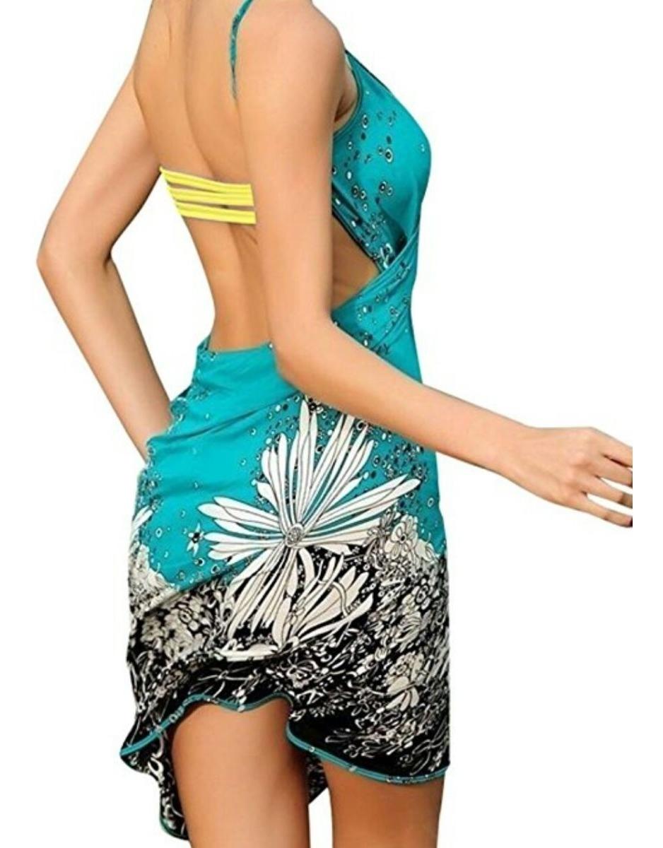 09e297931a6b Vestido Playa Pareo Cover Up Color Turquesa Traje Baño / J