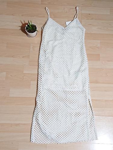 vestido playero, color blanco, casual, talla s