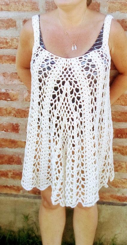 Vestido Playero Tejido Crochet Hilo De Algodon - $ 600,00 en Mercado ...
