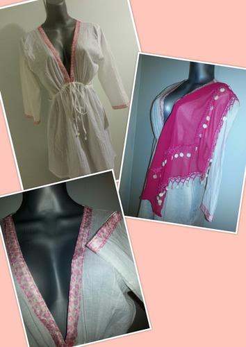 vestido playero tipo blusón blanco hindú c/pañuelo decorativ