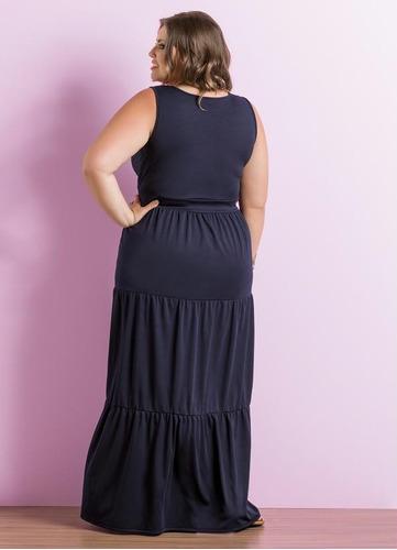 vestido plus size azul