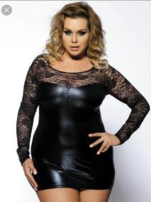 a0c8256e56a3ba Vestido Plus Size Couro Renda Formatura Festa Balada
