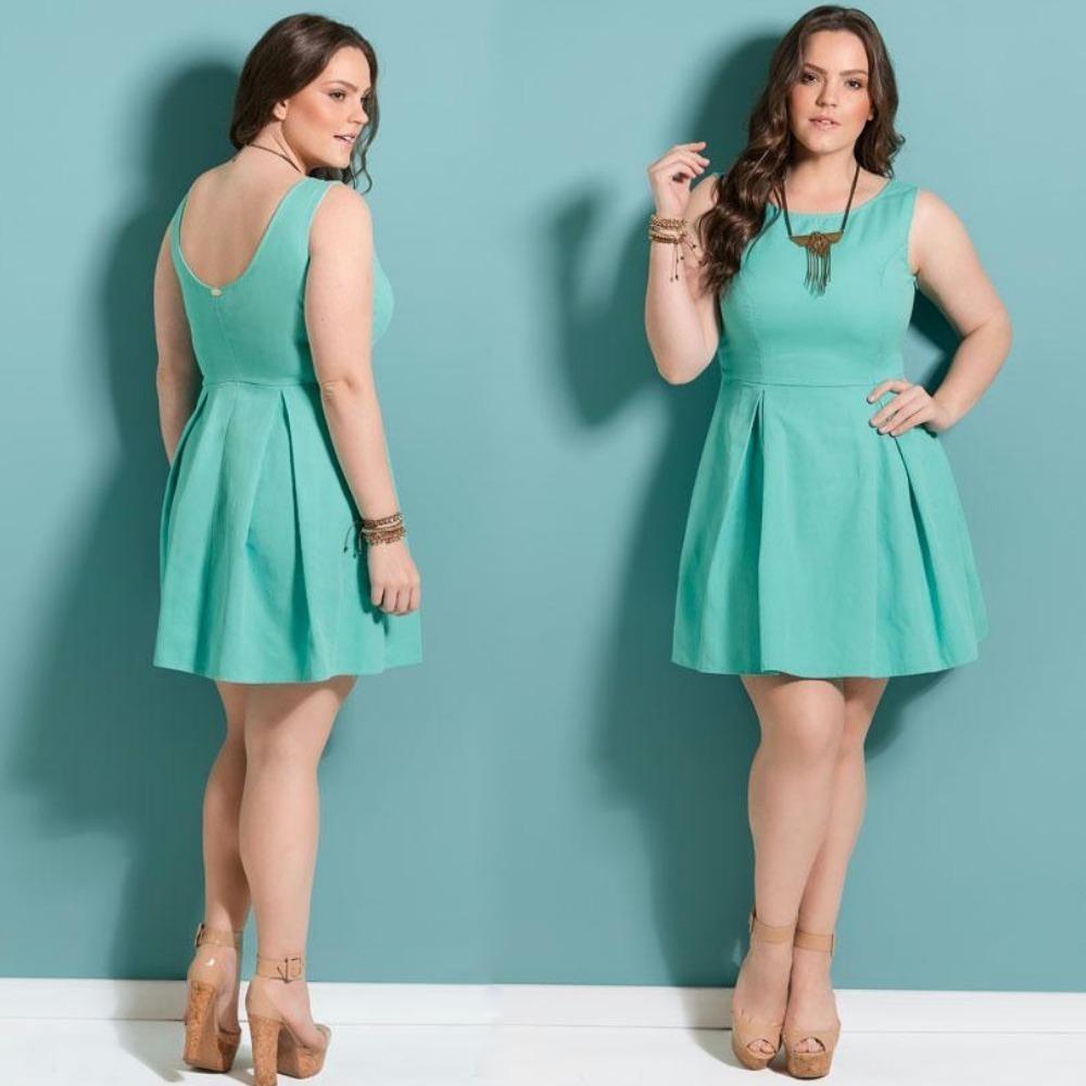 a5fcc15ad Vestido Plus Size Curto Lindo Rodado Azul De Luxo Gordinha - R  110 ...