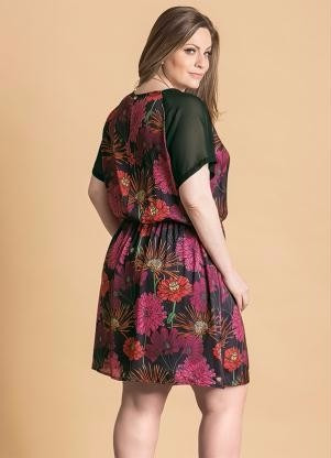 vestido plus size de cetim com manga roupa gardinha linda