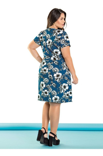 vestido plus size evangelico festa midi florido feminino