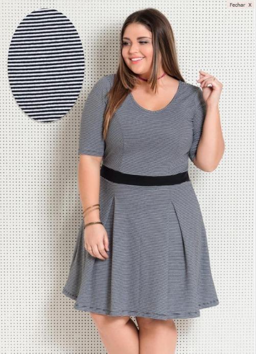 3cc839d32 Vestido Plus Size Evangélico Social Listrado Feminino - R  109