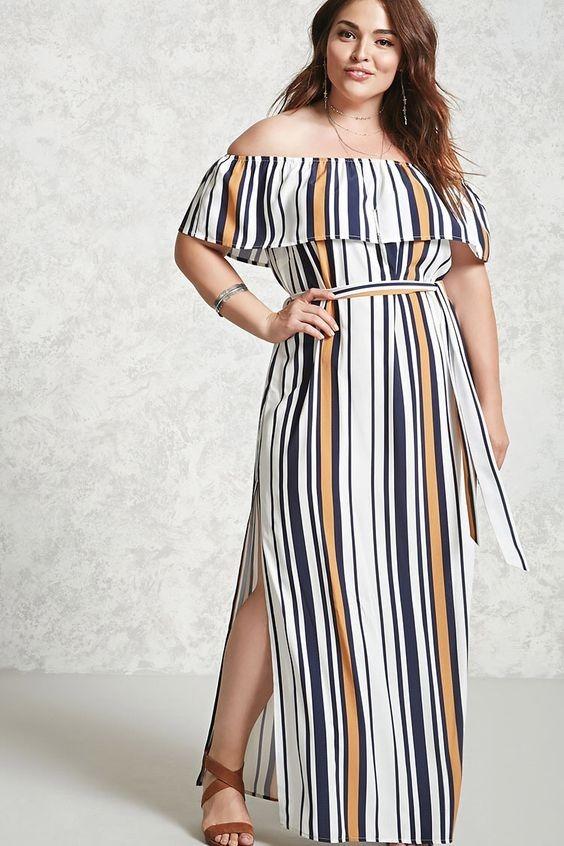 Vestido Plus Size Importado A Rayas Rayado 1x
