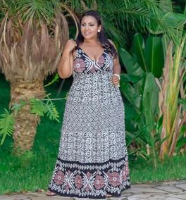 710a6697e4c241 Vestido Plus Size Indiano Estampado