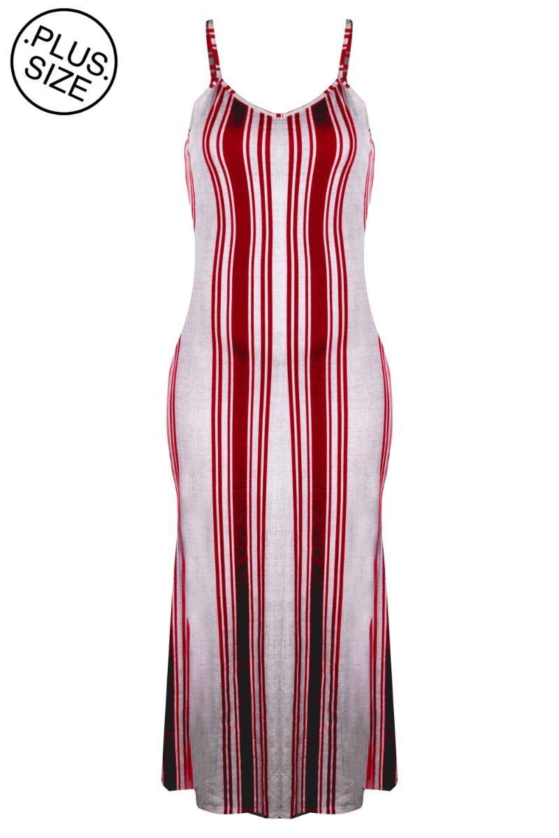 0dc33e821 vestido plus size longo alça fina regulador listrado fenda. Carregando zoom.