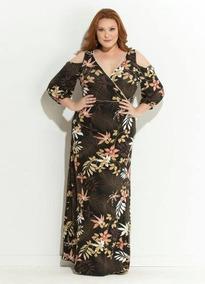 94375a543 Vestido Longo Com Barrado Florido - Vestidos Femeninos Casual Marrom com o  Melhores Preços no Mercado Livre Brasil
