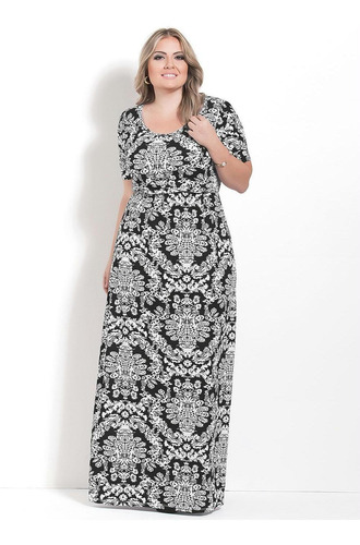 vestido plus size longo moda evangélica de festa estampado