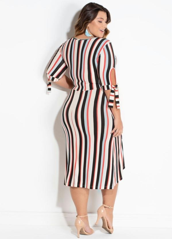 d47f84e5d vestido plus size midi listrado transpassado roupa feminina. Carregando  zoom.