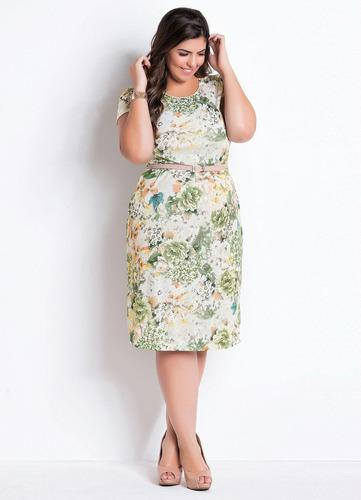 vestido plus size midi moda evangélica florido madrinha