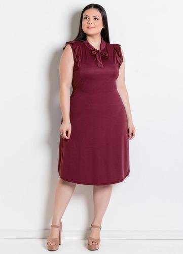 vestido plus size moda evangélica midi feminino rodado festa