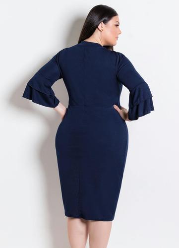 vestido plus size moda evangélica tubinho midi feminino
