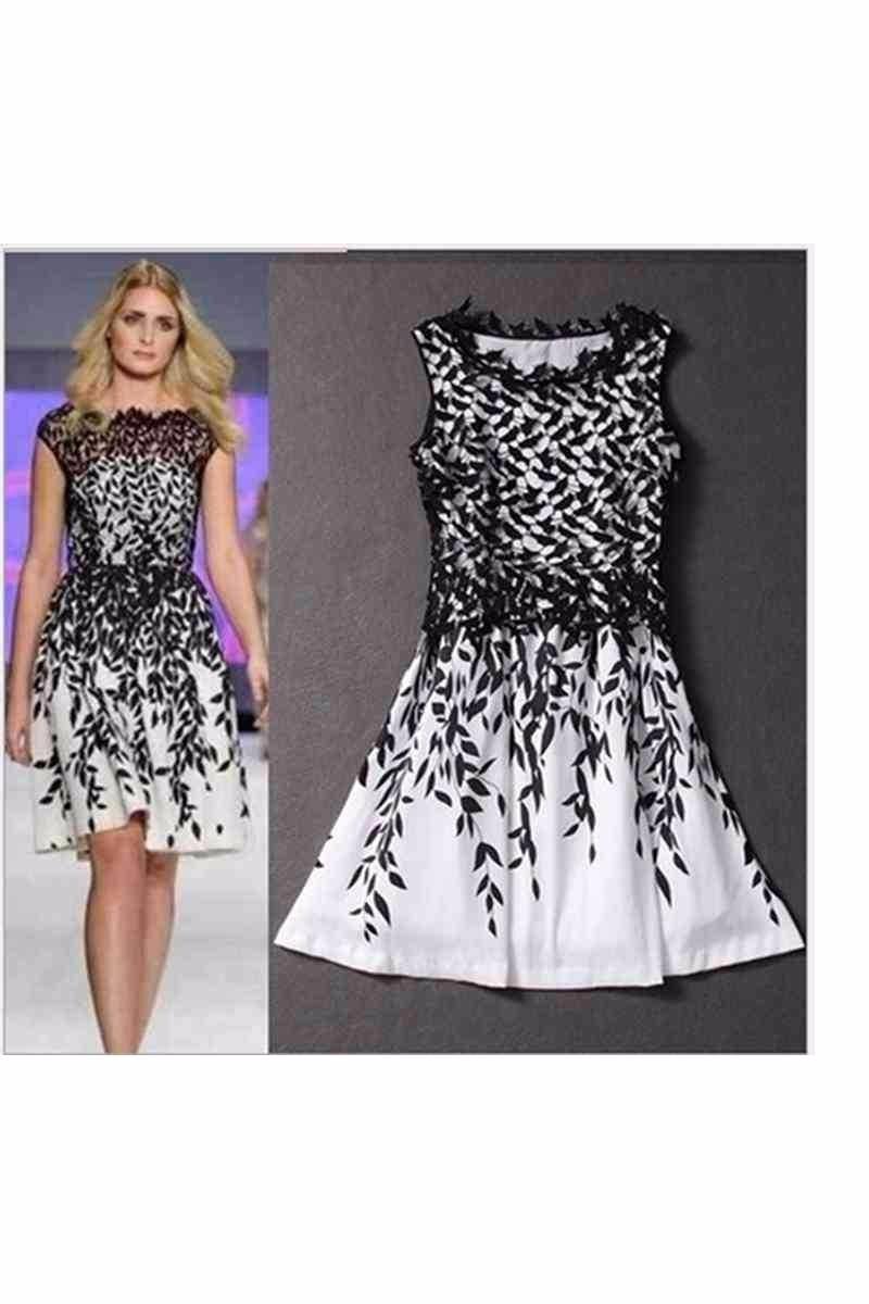 d4f69dc288d8 vestido plus size preto folhas brancas vestido verão para as. Carregando  zoom.