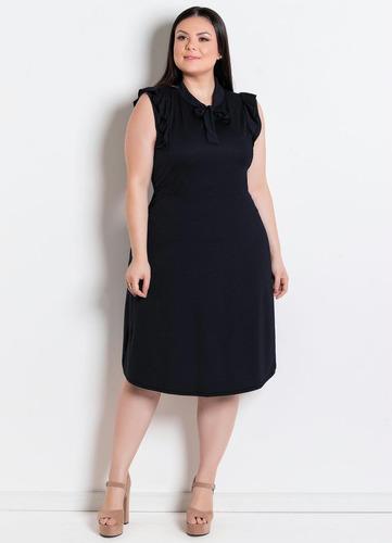 vestido plus size preto moda evangélica midi festa feminino