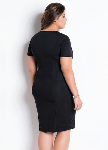 vestido plus size preto moda evangélica midi tubinho festa