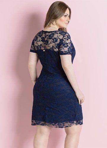 89efff399 Vestido Plus Size Renda Azul Marinho Social Festa - R$ 135,00 em ...