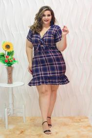1f7fd904f Vestido Plus Size Xadrez Lindo Roupas Moda Gg Feminina
