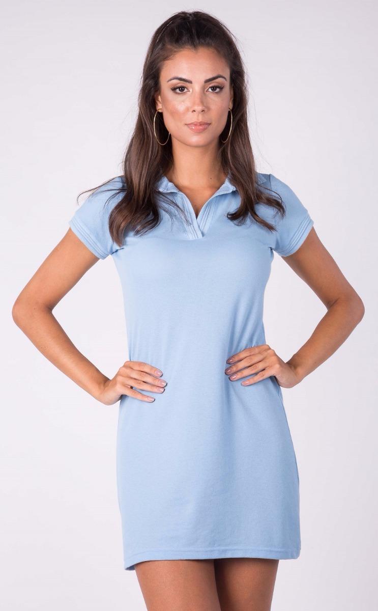 75cdae6ce Vestido Polo Malha Piquet Azul Claro T01 - R$ 47,00 em Mercado Livre