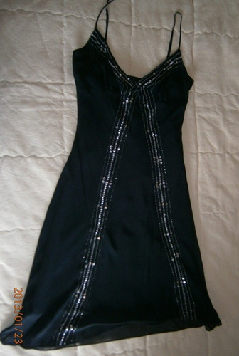 vestido preto bordado com prateado - festa! lindo! promoção