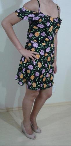 vestido preto floral - coleção primavera /  verão