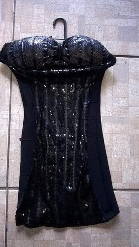 vestido preto lantejola paête p
