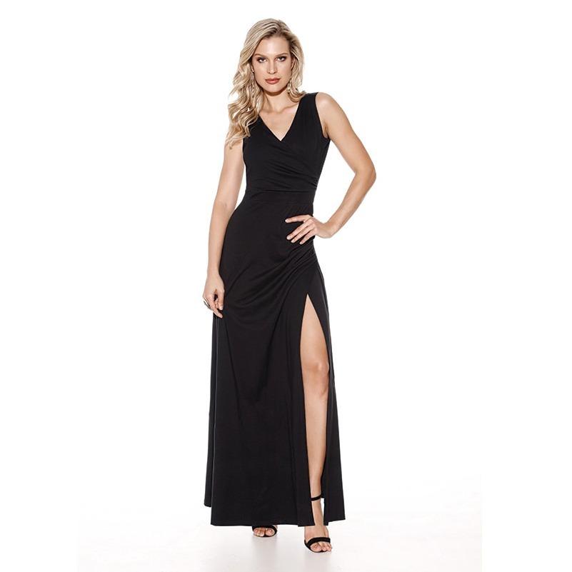 ea9772070 vestido preto longo fenda decote costas viscose knt 23310804. Carregando  zoom.