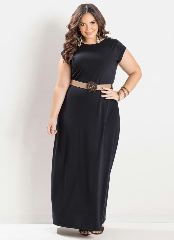 2989d0a09385 vestido preto longo manga curta feminino festa plus size. Carregando zoom.