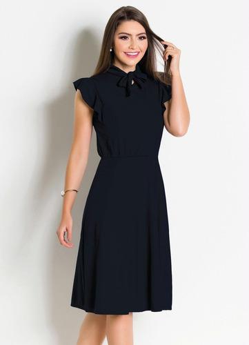 vestido preto midi moda evangélica festa feminino gola laço