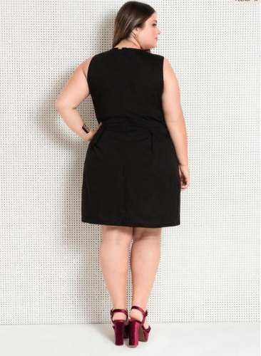 756b6f4108 Vestido Preto Plus Size Festa Social Executivo Feminino - R  89