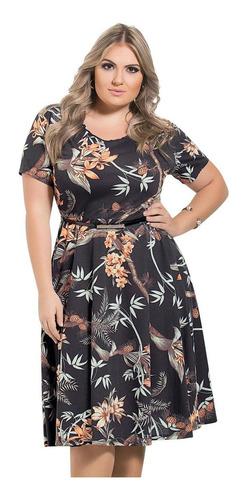 vestido preto plus size midi moda evangélica de festa floral