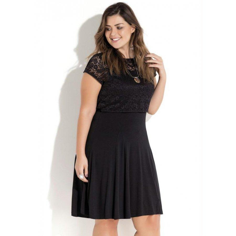 26d27f271 vestido preto sobreposição em renda quintess plus size. Carregando zoom.