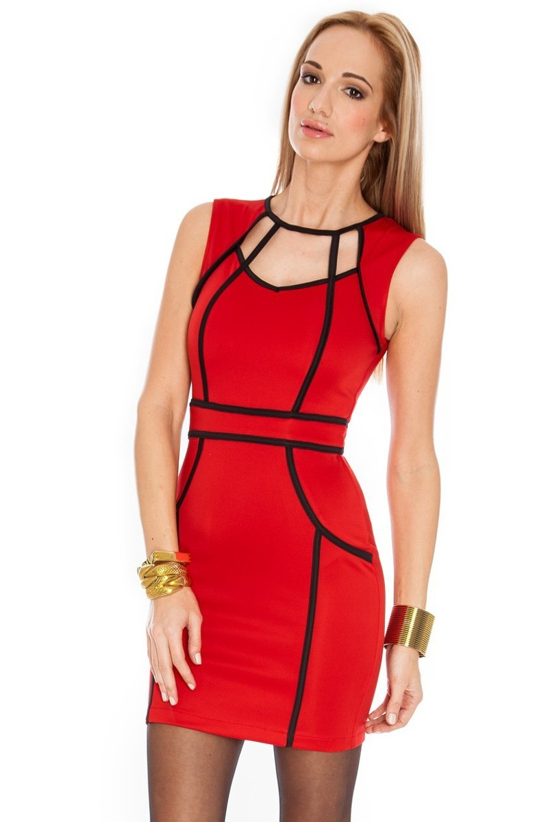 Vestido preto vermelho