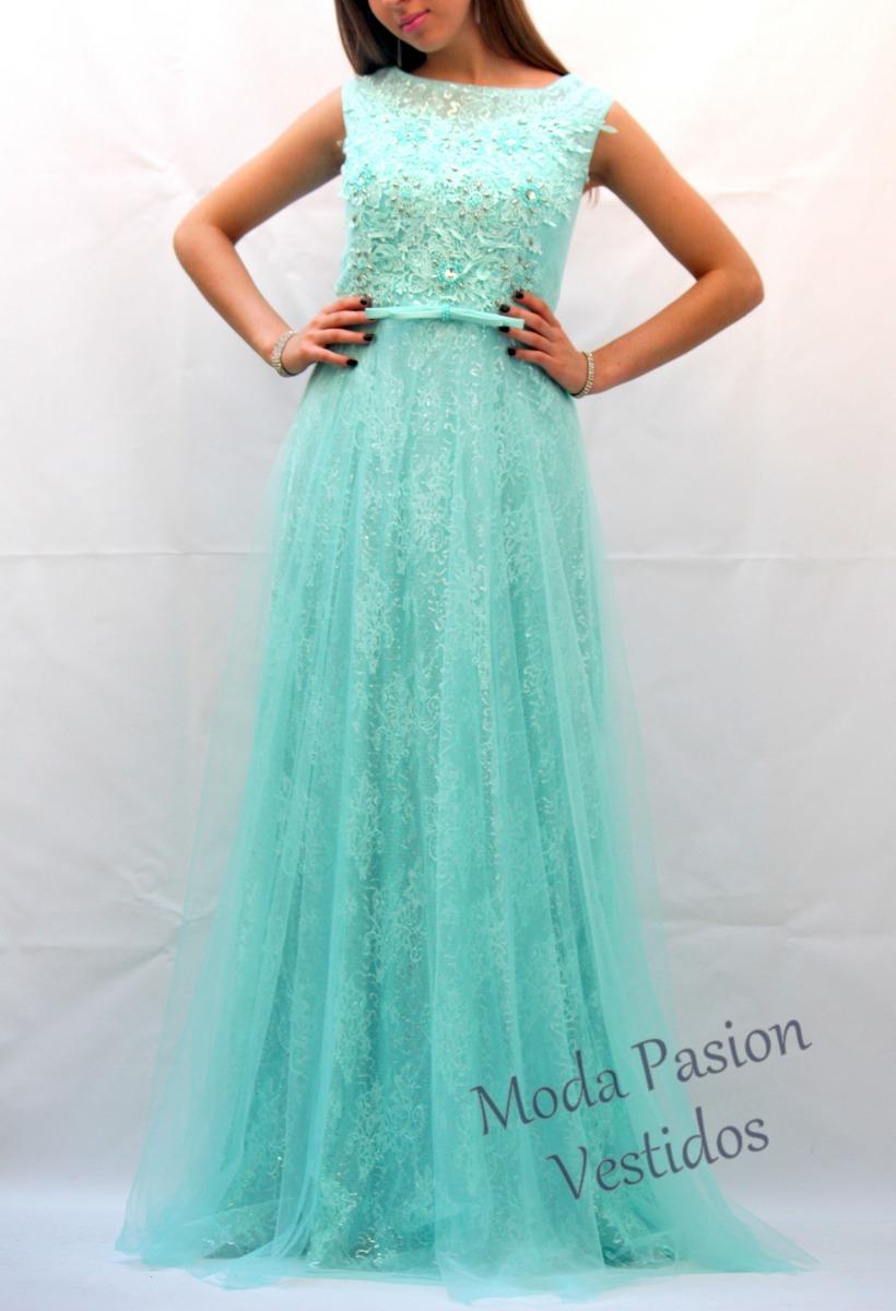 Vestido Princesa Aqua Tul Bordado Pedreria Moda Pasion