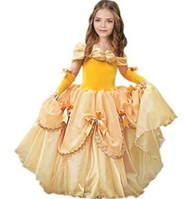 Vestido Princesa Bella Disfraz Cosplay De Lujo 2 A 13 Años