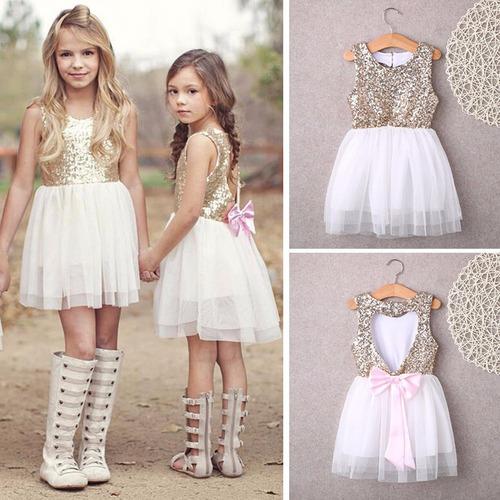 vestido princesa corazon espalda fiesta party niña kids