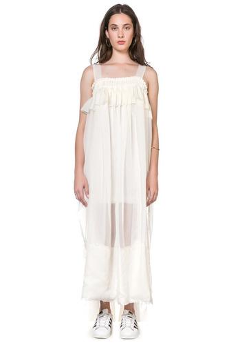 vestido princesa crudo largo voile con volado soifer oferta!