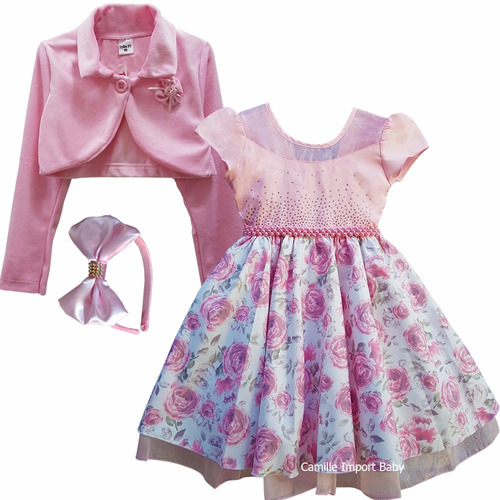 vestido princesa floral daminha 4 ao 16 anos bolero e tiara