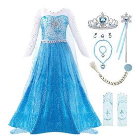 Vestido Princesa Frozen Elsa Disney Disfraz Accesorios