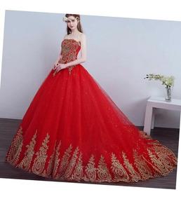 848403e01d90 Vestido Princesa Rojo De 15 Años Quinceañeras